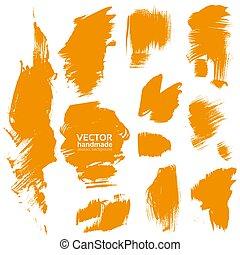 orange, fait main, brosse, texture