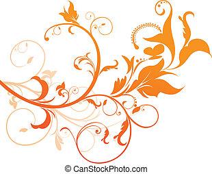 orange, floral, résumé