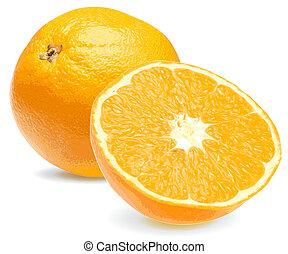 orange, frais, gros plan, 2, juteux