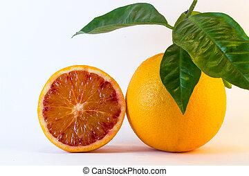 orange, frais, moitié