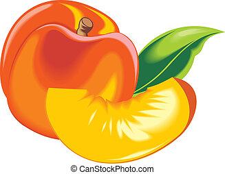 orange, frais, pêche