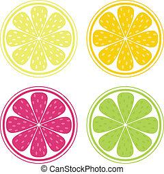 orange, fruit, fond, citron, -, vecteur, citrus, chaux