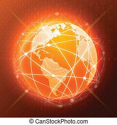 orange, globe, concept, réseau