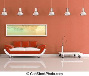 orange, habiter moderne, salle, blanc
