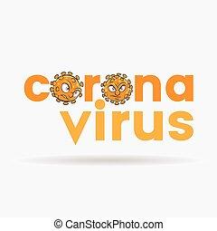 orange, inférieur, lettres, têtes, dessin animé, coronavirus, cas