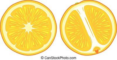 orange, juteux, deux, tranches