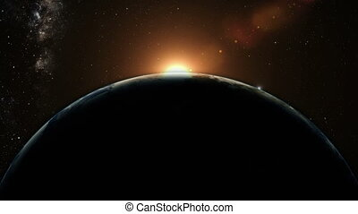 orange, la terre, sur, levers de soleil