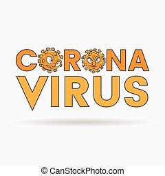 orange, lettres, noir, têtes, dessin animé, supérieur, coronavirus, cas, grands traits