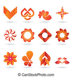 orange, logo, contemporain, collection, icône