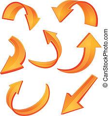 orange, lustré, flèche, icônes