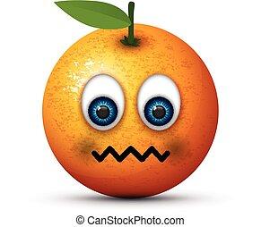 orange, malade, emoji