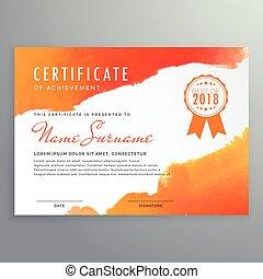orange, moderne, conception, certificat, encre