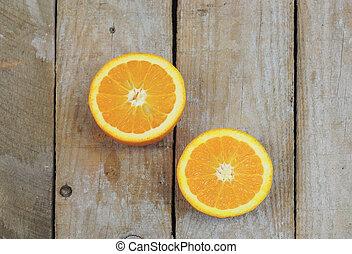 orange, moitiés, deux, frais