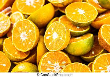 orange, moitiés, glace, frais