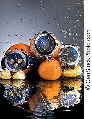 orange, montres