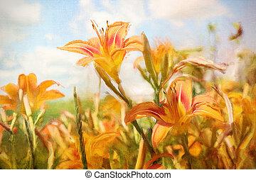 orange, numérique, peinture, daylilies