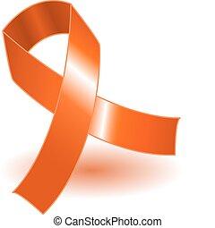 orange, ombre, conscience, ruban