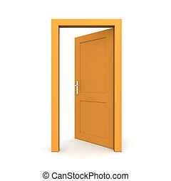 orange, ouvert, unique, porte