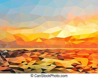 orange, plage, crépuscule, polygone, design.