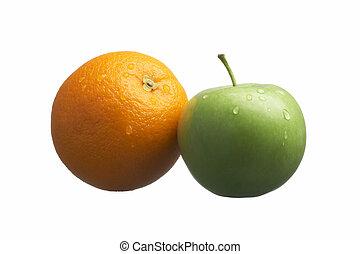 orange, pomme