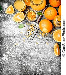 orange, râpe, zeste