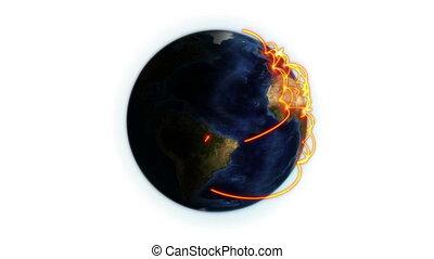 orange, réseau, la terre, ombragé