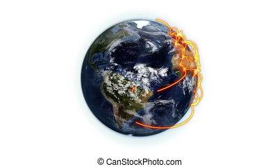 orange, réseau, nuageux, la terre