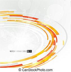 orange, résumé, circle., futuriste, 3d