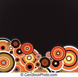 orange, résumé, rings., arrière-plan., vecteur, floral