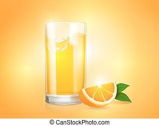 orange, rafraîchissant, citrus, vecteur, verre, fond, couper