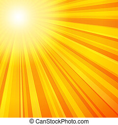 orange, rayons soleil, couleurs, jaune
