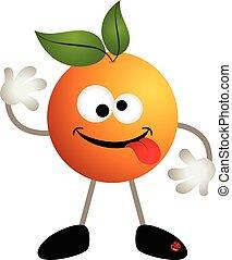 orange, rigolote, fruit, dessin animé