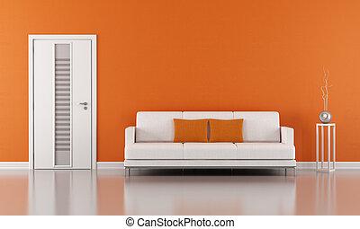 orange, salle de séjour