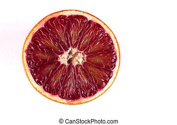 orange, sicilien, isolé, moitié, sanguine, blanc rouge