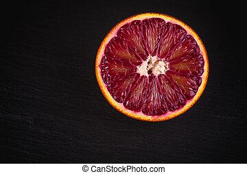 orange, sicilien, sanguine, couper, rouges