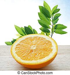 orange, table, bois, moitié