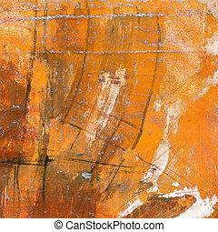 orange, toile, aquarelle, peint