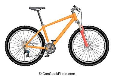 orange, vélo, vecteur