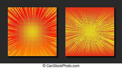orange, vecteur, sun., illustration., halftone