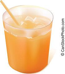 orange, verre, entiers, jus