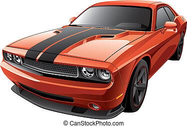 orange, voiture, muscle