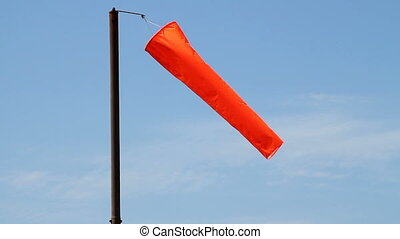 orange, windsock., aéroport