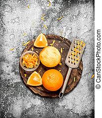 orange, zeste, râpe