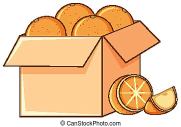 oranges, blanc, boîte, fond