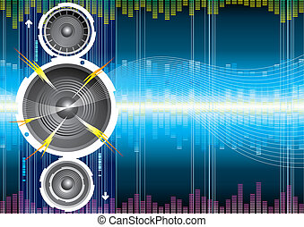 orateur, audio, vague