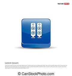 orateur, bleu, son, -, icône, 3d, bouton
