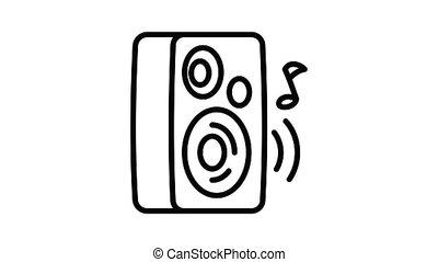 orateur, musique, jouer, animation, icône
