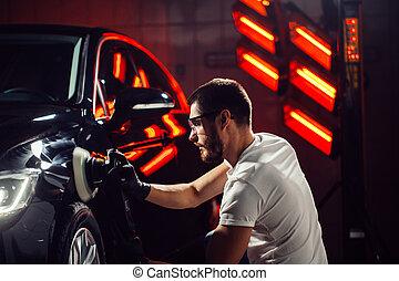 orbital, réparation, shop., voiture, -, détailler, foyer., polisseur, sélectif, auto, homme