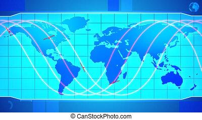 orbiter, mondiale, satellites., carte