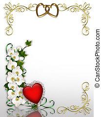 orchidées, lierre, invitation, mariage